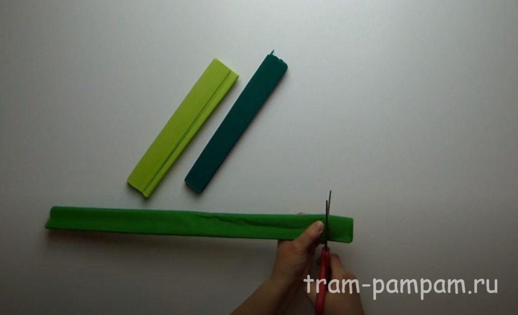 зеленую бумагу режем полосами